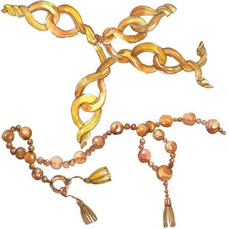 Les chaînes d'or esquissent une illustration glamour dans un élément d'aquarelle isolé de style. Accessoires de vêtements ensemble de mode tenue à la mode. Ensemble d'illustrations de fond aquarelle.