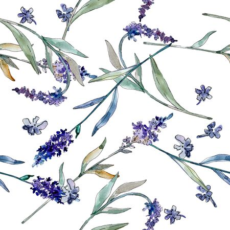 Lavender floral botanical flowers. Wild spring leaf wildflower.  illustration set. Watercolour drawing fashion aquarelle. Seamless background pattern. Fabric wallpaper print texture. 스톡 콘텐츠