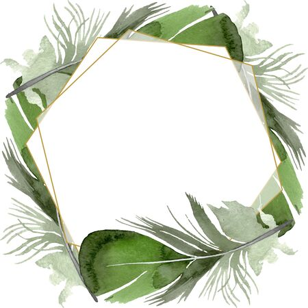 Bird feather from wing isolated.  background illustration set. Watercolour drawing fashion aquarelle isolated. Frame border crystal ornament square. Standard-Bild - 131692408