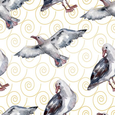 Sky bird seagull in a wildlife. Wild freedom, bird with a flying wings.  illustration set. Watercolour drawing fashion aquarelle. Seamless background pattern. Fabric wallpaper print texture. Banco de Imagens - 131691853