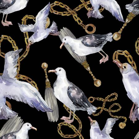 Sky bird seagull in a wildlife. Wild freedom, bird with a flying wings.  illustration set. Watercolour drawing fashion aquarelle. Seamless background pattern. Fabric wallpaper print texture. Banco de Imagens - 131691094