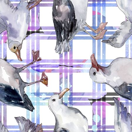 Sky bird seagull in a wildlife. Wild freedom, bird with a flying wings.  illustration set. Watercolour drawing fashion aquarelle. Seamless background pattern. Fabric wallpaper print texture. Banco de Imagens - 131686825