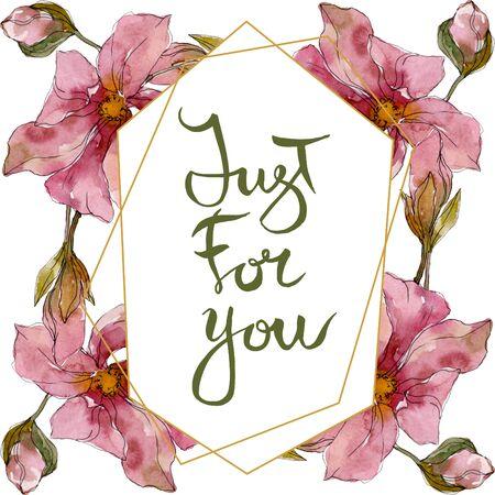 Camelia floral botanical flowers. Wild spring leaf wildflower isolated.  background illustration set. Watercolour drawing fashion aquarelle. Frame border crystal ornament square. Stok Fotoğraf