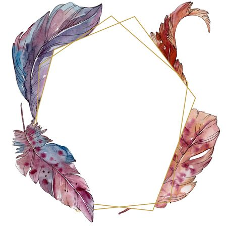 Colorful bird feather from wing isolated.  background illustration set. Watercolour drawing fashion aquarelle isolated. Frame border ornament square. Standard-Bild - 131685465