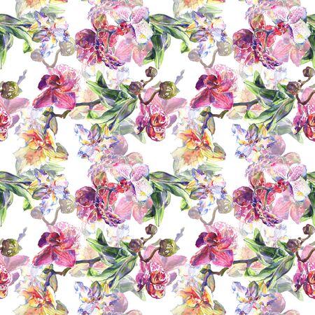 Fleurs botaniques florales d'orchidée. Fleur sauvage de feuille de printemps sauvage. ensemble d'illustrations. Aquarelle de mode dessin aquarelle. Motif de fond sans couture. Texture d'impression de papier peint en tissu.