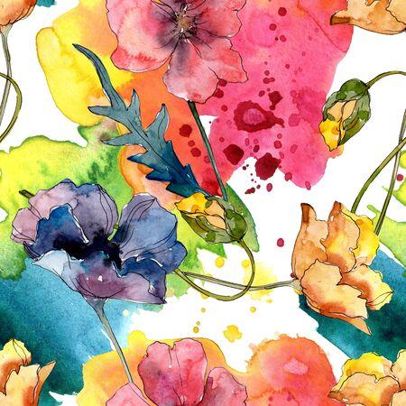 Poppy floral botanical flower. Wild spring leaf wildflower.  illustration set. Watercolour drawing fashion aquarelle. Seamless background pattern. Fabric wallpaper print texture. Foto de archivo - 131574951