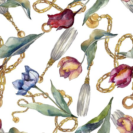 Tulip floral botanical flowers. Wild spring leaf wildflower isolated.  illustration set. Watercolour drawing fashion aquarelle. Seamless background pattern. Fabric wallpaper print texture. Foto de archivo - 131574965