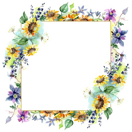 Bouquet with sunflowers floral botanical flowers. Wild spring leaf wildflower isolated.  background illustration set. Watercolour drawing fashion aquarelle. Frame border ornament square. 免版税图像