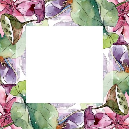 Lotus floral botanical flowers. Wild spring leaf wildflower isolated.  background illustration set. Watercolour drawing fashion aquarelle isolated. Frame border ornament square.