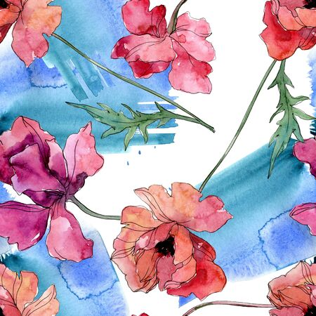 Poppy floral botanical flower. Wild spring leaf wildflower.  illustration set. Watercolour drawing fashion aquarelle. Seamless background pattern. Fabric wallpaper print texture.