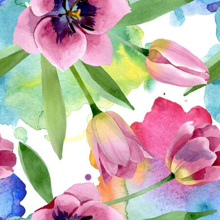 Pink tulips floral botanical flower. Wild spring leaf wildflower.  illustration set. Watercolour drawing fashion aquarelle. Seamless background pattern. Fabric wallpaper print texture.