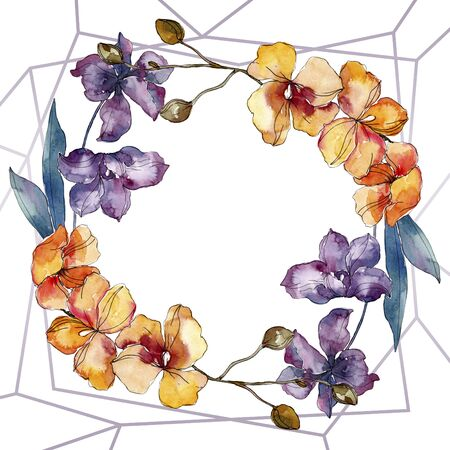 Orchid floral botanical flowers. Wild spring leaf wildflower isolated.  background illustration set. Watercolour drawing fashion aquarelle. Frame border crystal ornament square. Foto de archivo - 131572218