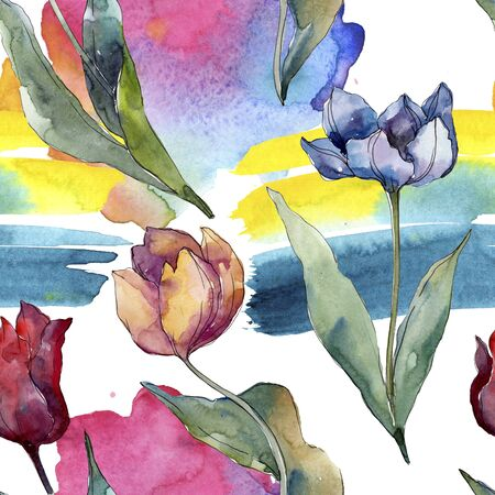 Tulip floral botanical flowers. Wild spring leaf wildflower isolated.  illustration set. Watercolour drawing fashion aquarelle. Seamless background pattern. Fabric wallpaper print texture. Foto de archivo - 131571867