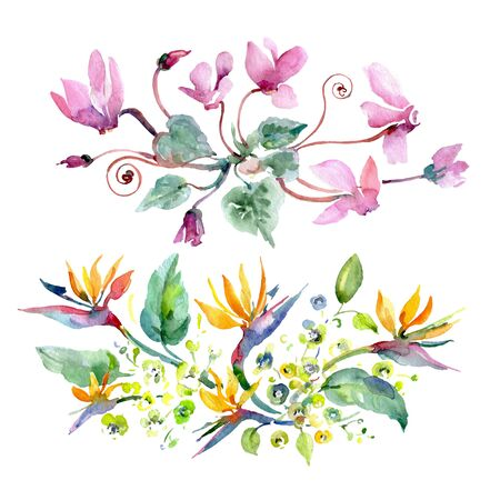 Bouquet floral botanical flowers. Wild spring leaf wildflower isolated.  background illustration set. Watercolour drawing fashion aquarelle isolated. Isolated bouquets illustration element. Foto de archivo - 131571452