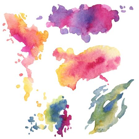 Abstract  paper splash shapes isolated drawing. Illustration aquarelle for background, texture, wrapper pattern, frame or border. Watercolour drawing brush stain design.