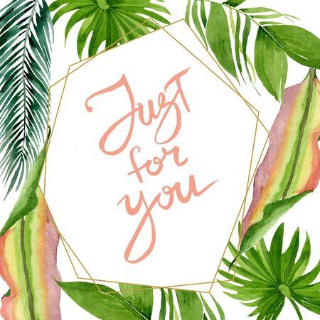 Exotic tropical hawaiian summer. Palm beach tree leaves jungle botanical.  background illustration set. Watercolour drawing fashion aquarelle. Frame border crystal ornament square. Stok Fotoğraf