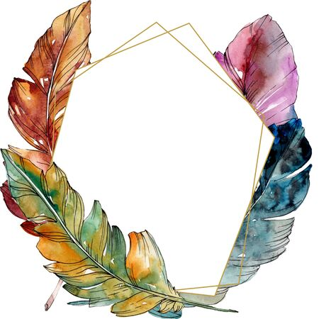 Colorful bird feather from wing isolated.  background illustration set. Watercolour drawing fashion aquarelle isolated. Frame border ornament square. Standard-Bild - 131566026