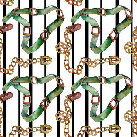 Cadena y cinturón de cuero boceto ilustración de glamour de moda en un estilo. Los accesorios de ropa establecen un atuendo de moda. Dibujo de acuarela aquarelle de moda. Patrón de fondo transparente.