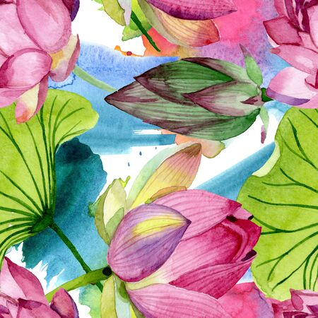 Pink lotus floral botanical flowers. Wild spring leaf wildflower.  illustration set. Watercolour drawing fashion aquarelle. Seamless background pattern. Fabric wallpaper print texture.