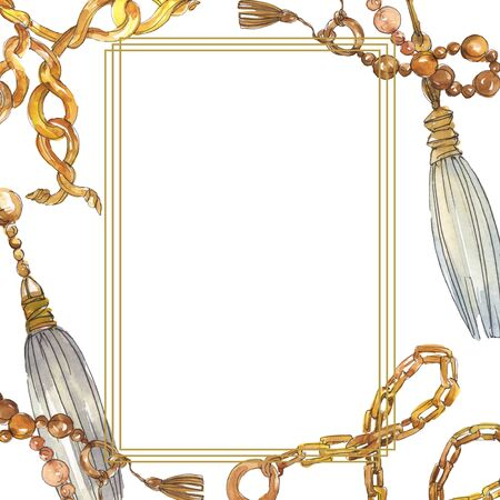 Golden chains sketch illustration in a  style element. Clothes accessories aqurelle set trendy vogue outfit. Watercolour background illustration set. Frame border ornament square.