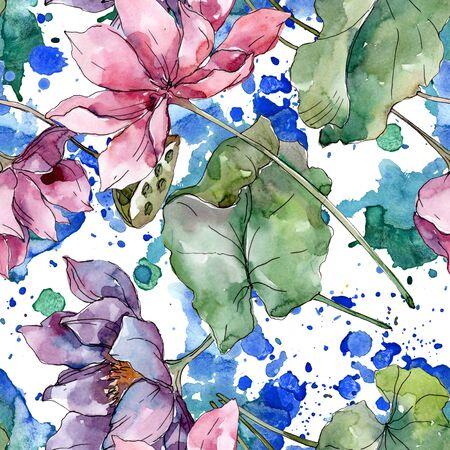 Lotus floral botanical flowers. Wild spring leaf wildflower.  illustration set. Watercolour drawing fashion aquarelle. Seamless background pattern. Fabric wallpaper print texture. Stock Photo