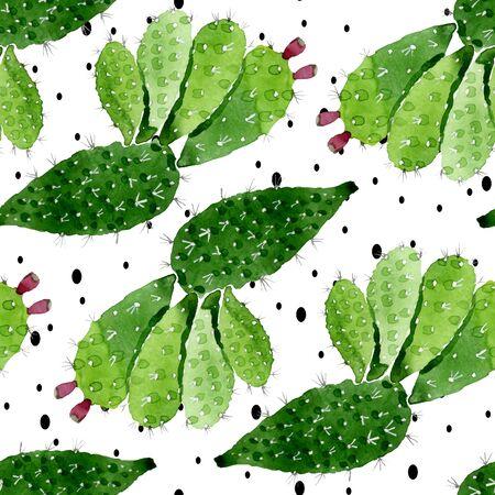 Botanische Blumenblumen des grünen Kaktus. Wilde Frühlingsblatt-Wildblume. Abbildung eingestellt. Aquarellzeichnung Mode-Aquarell. Nahtloses Hintergrundmuster. Stofftapete Drucktextur.