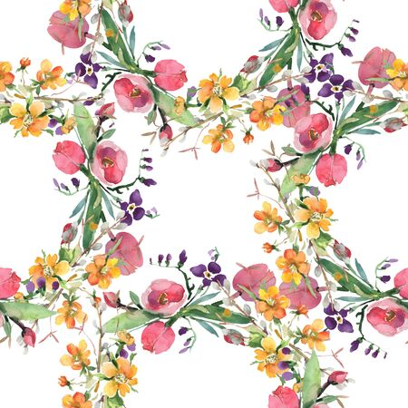 Bouquet floral botanical flowers. Wild spring leaf wildflower. illustration set. Watercolour drawing fashion aquarelle. Seamless background pattern. Fabric wallpaper print texture.