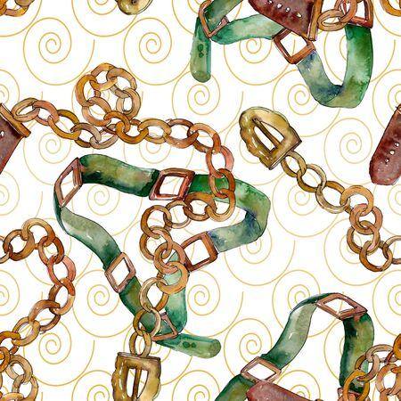 Chain and leather belt sketch fashion glamour illustration in a  style. Clothes accessories set trendy vogue outfit. Watercolour drawing fashion aquarelle. Seamless background pattern.