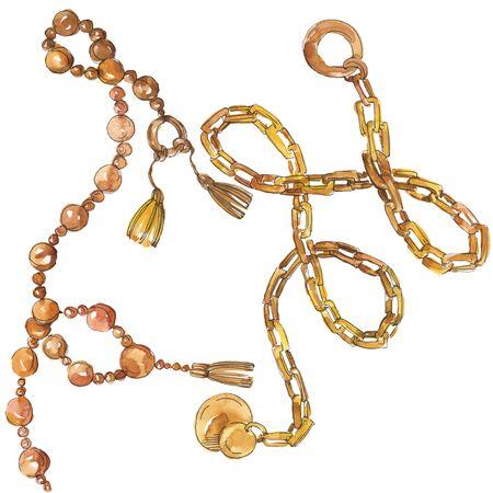 Les chaînes d'or esquissent une illustration glamour dans un élément d'aquarelle isolé de style. Accessoires de vêtements ensemble de mode tenue à la mode. Ensemble d'illustrations de fond aquarelle. Banque d'images