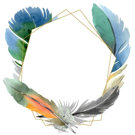 Colorful bird feather from wing isolated.  background illustration set. Watercolour drawing fashion aquarelle isolated. Frame border ornament square. Standard-Bild - 131467926