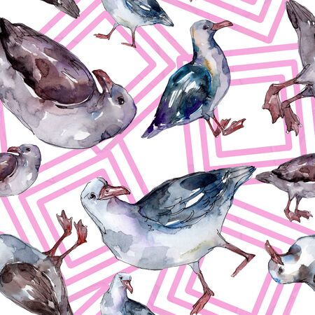 Sky bird seagull in a wildlife. Wild freedom, bird with a flying wings.  illustration set. Watercolour drawing fashion aquarelle. Seamless background pattern. Fabric wallpaper print texture. Banco de Imagens - 131467417
