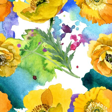 Yellow poppy floral botanical flowers. Wild spring leaf wildflower.  illustration set. Watercolour drawing fashion aquarelle. Seamless background pattern. Fabric wallpaper print texture.