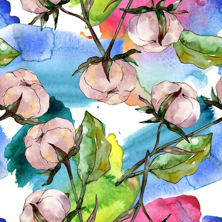 Cotton floral botanical flower. Wild spring leaf wildflower.  illustration set. Watercolour drawing fashion aquarelle. Seamless background pattern. Fabric wallpaper print texture. 스톡 콘텐츠