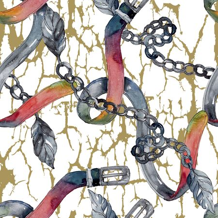 Golden chain belt sketch illustration. Clothes accessories set trendy outfit.  set. Watercolour drawing fashion aquarelle. Seamless background pattern. Fabric wallpaper print texture. Zdjęcie Seryjne