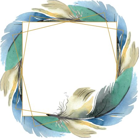 Colorful bird feather from wing isolated.  background illustration set. Watercolour drawing fashion aquarelle isolated. Frame border ornament square. Standard-Bild - 131391596