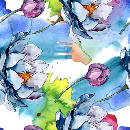 Lotus floral botanical flowers. Wild spring leaf wildflower isolated.  illustration set. Watercolour drawing fashion aquarelle. Seamless background pattern. Fabric wallpaper print texture.