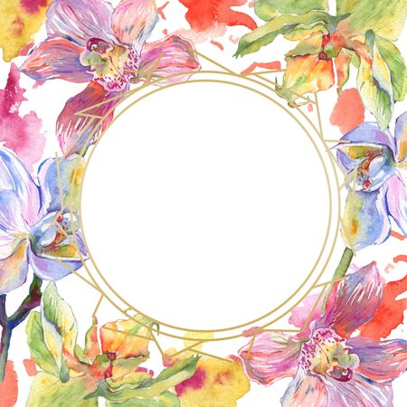 Orchid floral botanical flowers. Wild spring leaf wildflower isolated.  background illustration set. Watercolour drawing fashion aquarelle. Frame border crystal ornament square. Stock Photo