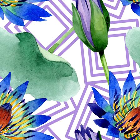 Blue lotus floral botanical flowers. Wild spring leaf wildflower.  illustration set. Watercolour drawing fashion aquarelle. Seamless background pattern. Fabric wallpaper print texture. 스톡 콘텐츠
