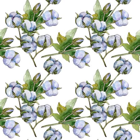 White cotton floral botanical flowers. Wild spring leaf wildflower.  illustration set. Watercolour drawing fashion aquarelle. Seamless background pattern. Fabric wallpaper print texture. 스톡 콘텐츠