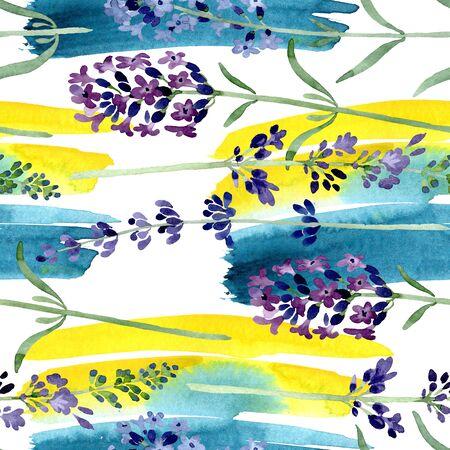 Violet lavender floral botanical flower. Wild spring leaf wildflower.  illustration set. Watercolour drawing fashion aquarelle. Seamless background pattern. Fabric wallpaper print texture. 스톡 콘텐츠