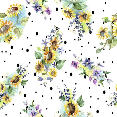 Bouquet with sunflowers botanical flowers. Wild spring leaf wildflower.  illustration set. Watercolour drawing fashion aquarelle. Seamless background pattern. Fabric wallpaper print texture.