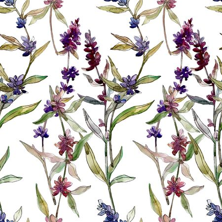 Purple lavender floral botanical flowers. Wild spring leaf wildflower.  illustration set. Watercolour drawing fashion aquarelle. Seamless background pattern. Fabric wallpaper print texture. 스톡 콘텐츠