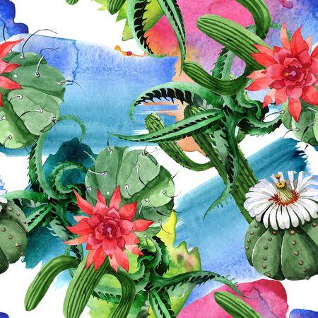 Green cactus floral botanical flower. Wild spring wildflower.  illustration set. Watercolour drawing fashion aquarelle. Seamless background pattern. Fabric wallpaper print texture.