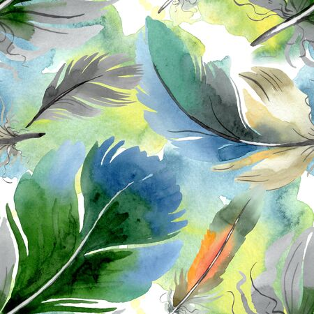 Colorful bird feather from wing isolated.  background illustration set. Watercolour drawing fashion aquarelle isolated. Seamless background pattern. Fabric wallpaper print texture. Zdjęcie Seryjne