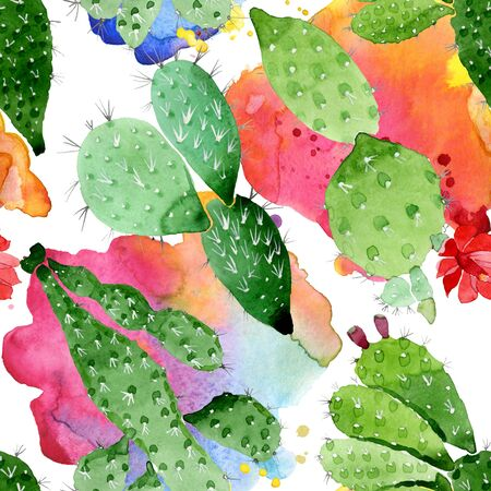 Green cactus floral botanical flowers. Wild spring leaf wildflower.  illustration set. Watercolour drawing fashion aquarelle. Seamless background pattern. Fabric wallpaper print texture.