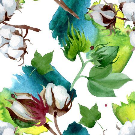 White cotton floral botanical flower. Wild spring leaf wildflower.  illustration set. Watercolour drawing fashion aquarelle. Seamless background pattern. Fabric wallpaper print texture.