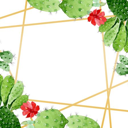 Green cactus floral botanical flowers. Wild spring leaf wildflower.  background illustration set. Watercolour drawing fashion aquarelle. Frame border crystal ornament square. Stockfoto