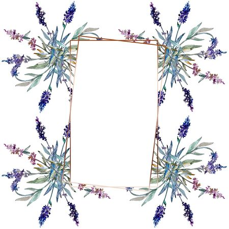 Lavender floral botanical flowers. Wild spring leaf wildflower isolated.  background illustration set. Watercolour drawing fashion aquarelle isolated. Frame border crystal ornament square.