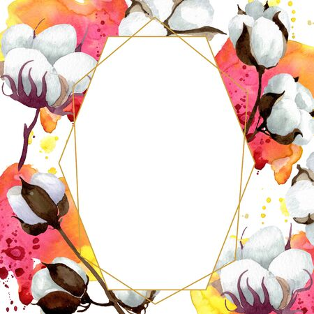 White cotton floral botanical flowers. Wild spring leaf wildflower isolated.  background illustration set. Watercolour drawing fashion aquarelle. Frame border crystal ornament square.