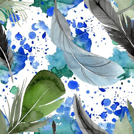Bird feather from wing isolated.  background illustration set. Watercolour drawing fashion aquarelle isolated. Seamless background pattern. Fabric wallpaper print texture.